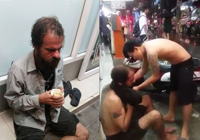 Thai men took off their shirts to keep 'homeless' farang warm, didn't forget to film themselves